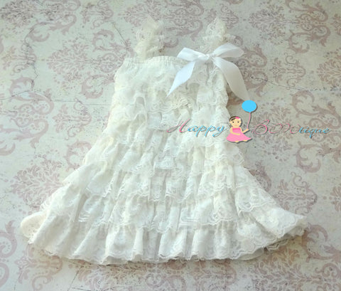 Girl Victorian White Lace Dress ~ Baby Girl Baptism White Dress