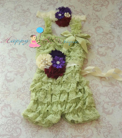 Fall Raspberry Mint Purple Lace Petti Romper set - Happy BOWtique - children's clothing, Baby Girl clothing