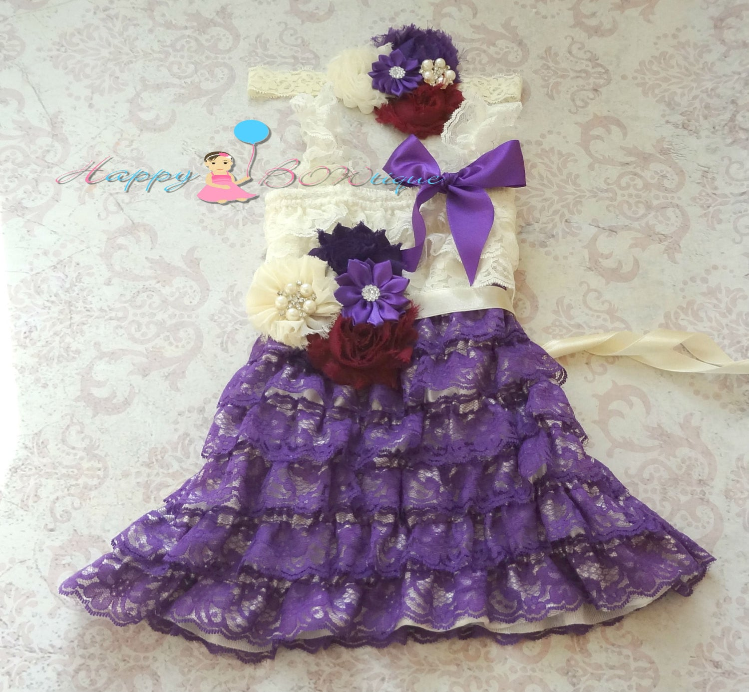 Raspberry Purple Girl's lace dress set/ Girl's Purple Dress - Happy BOWtique - children's clothing, Baby Girl clothing