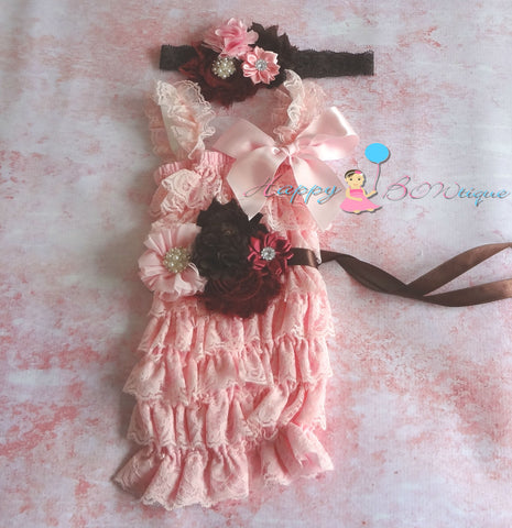 Chocolate Fall Pink Romper set - Happy BOWtique - children's clothing, Baby Girl clothing