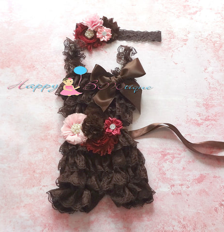 Chocolate Fall Pink and Burgundy Romper set - Happy BOWtique - children's clothing, Baby Girl clothing