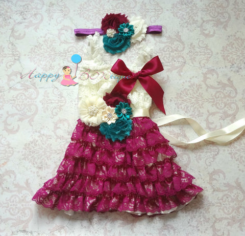 Girl Raspberry Teal Petti lace dress / Girl Purples Dress Set - Happy BOWtique - children's clothing, Baby Girl clothing