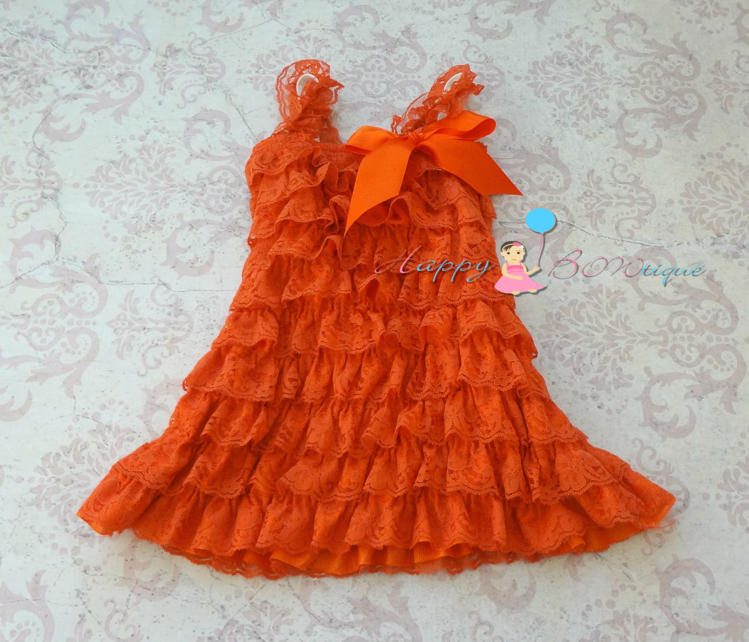 Fall Orange Chocolate Flower lace dress set - Happy BOWtique - children's clothing, Baby Girl clothing