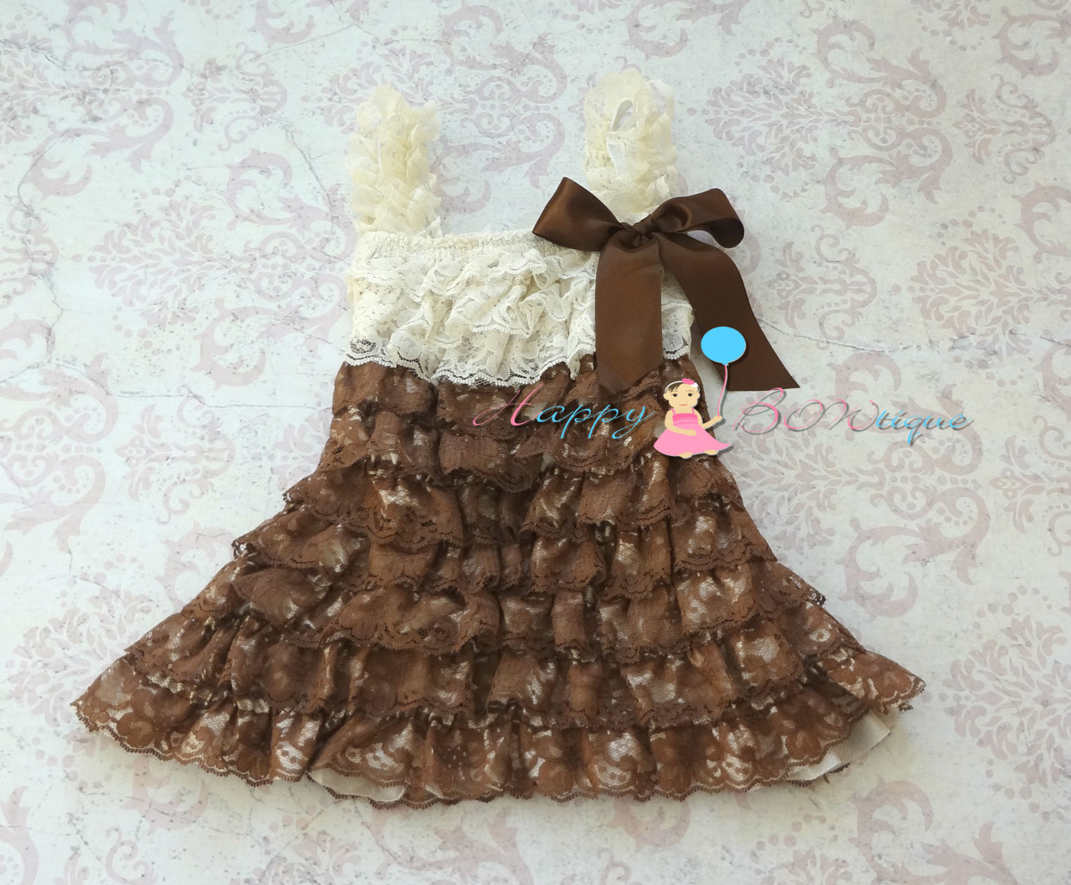 Chocolate Beige Lace Dress - Happy BOWtique - children's clothing, Baby Girl clothing