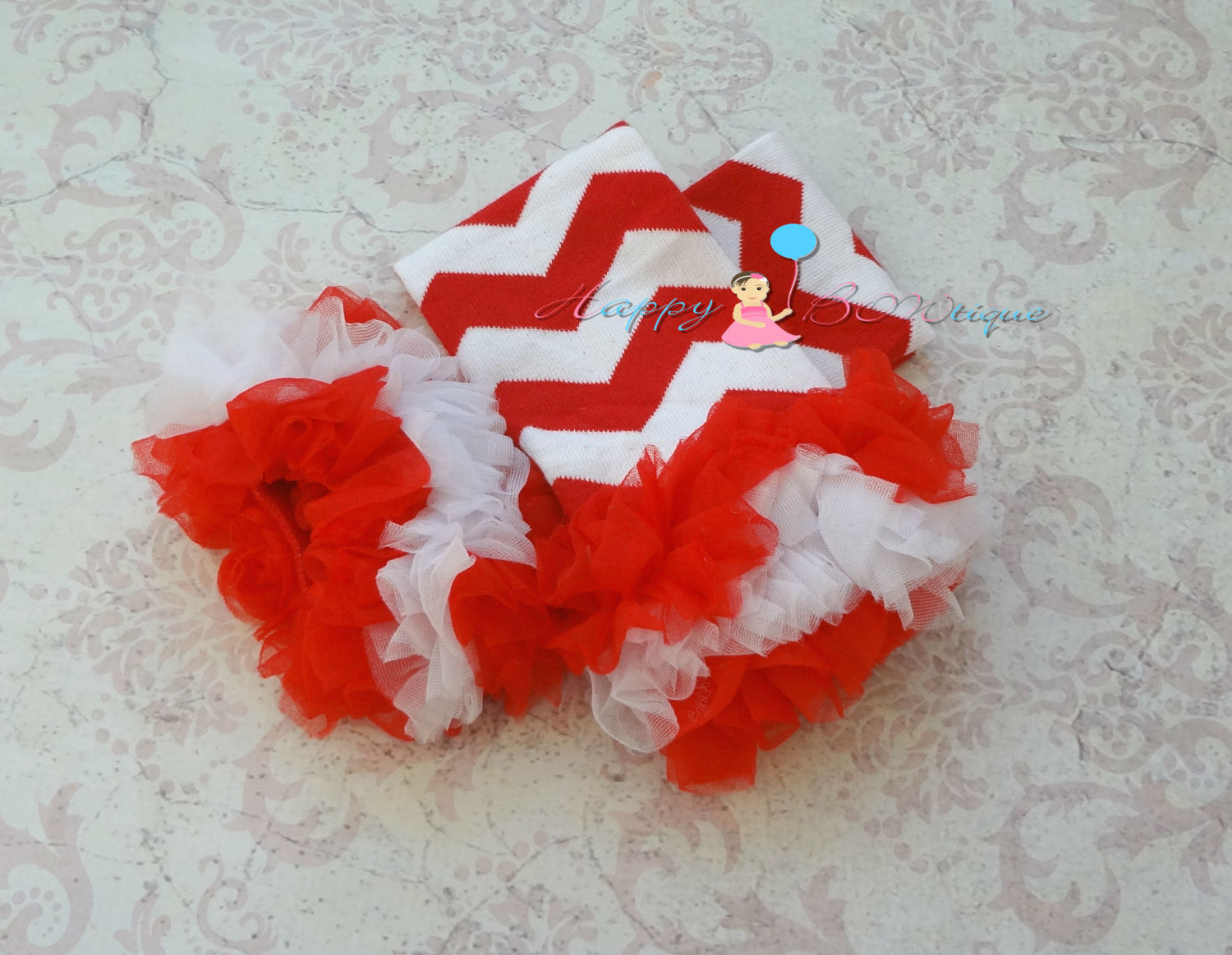 Red chevron ruffles Legwarmers - Happy BOWtique - children's clothing, Baby Girl clothing