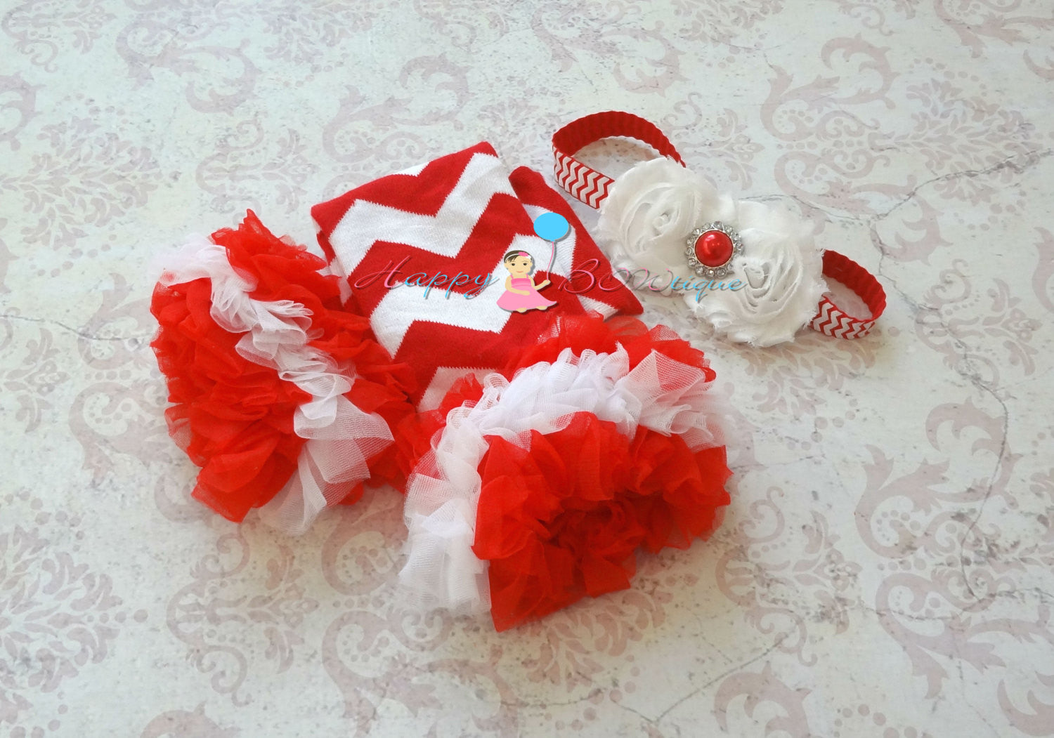 Duo Shabby Victorian White Red Chevron Headband - Happy BOWtique - children's clothing, Baby Girl clothing