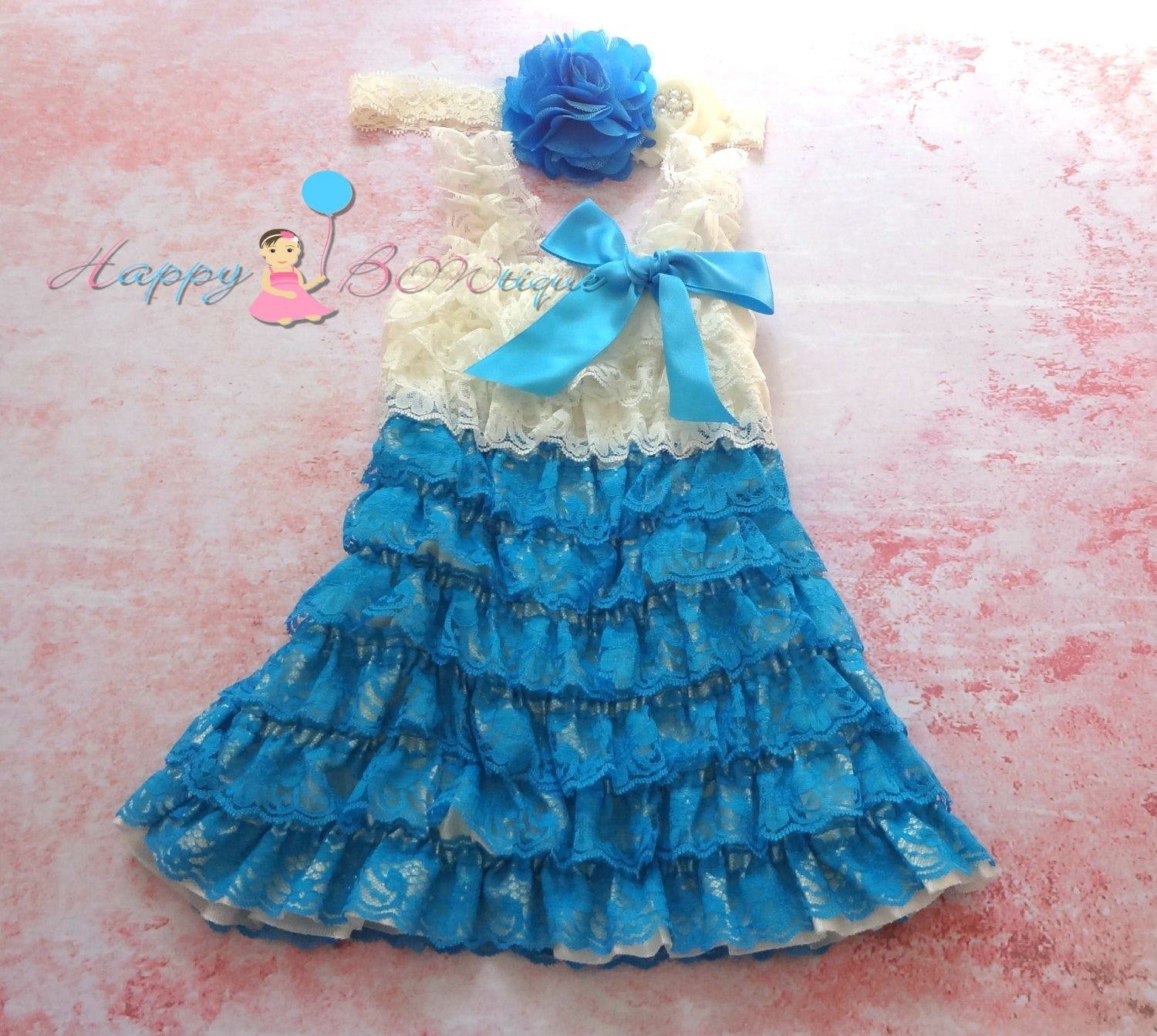 Girl's Petti Lace Dress/ Girl's Ivory Turquoise lace dress set - Happy BOWtique - children's clothing, Baby Girl clothing