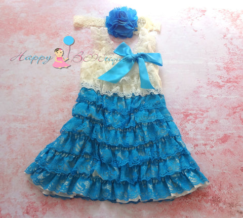 Girl's Blue Lace Dress/ Girl's Pretty Jade Petti Lace dress