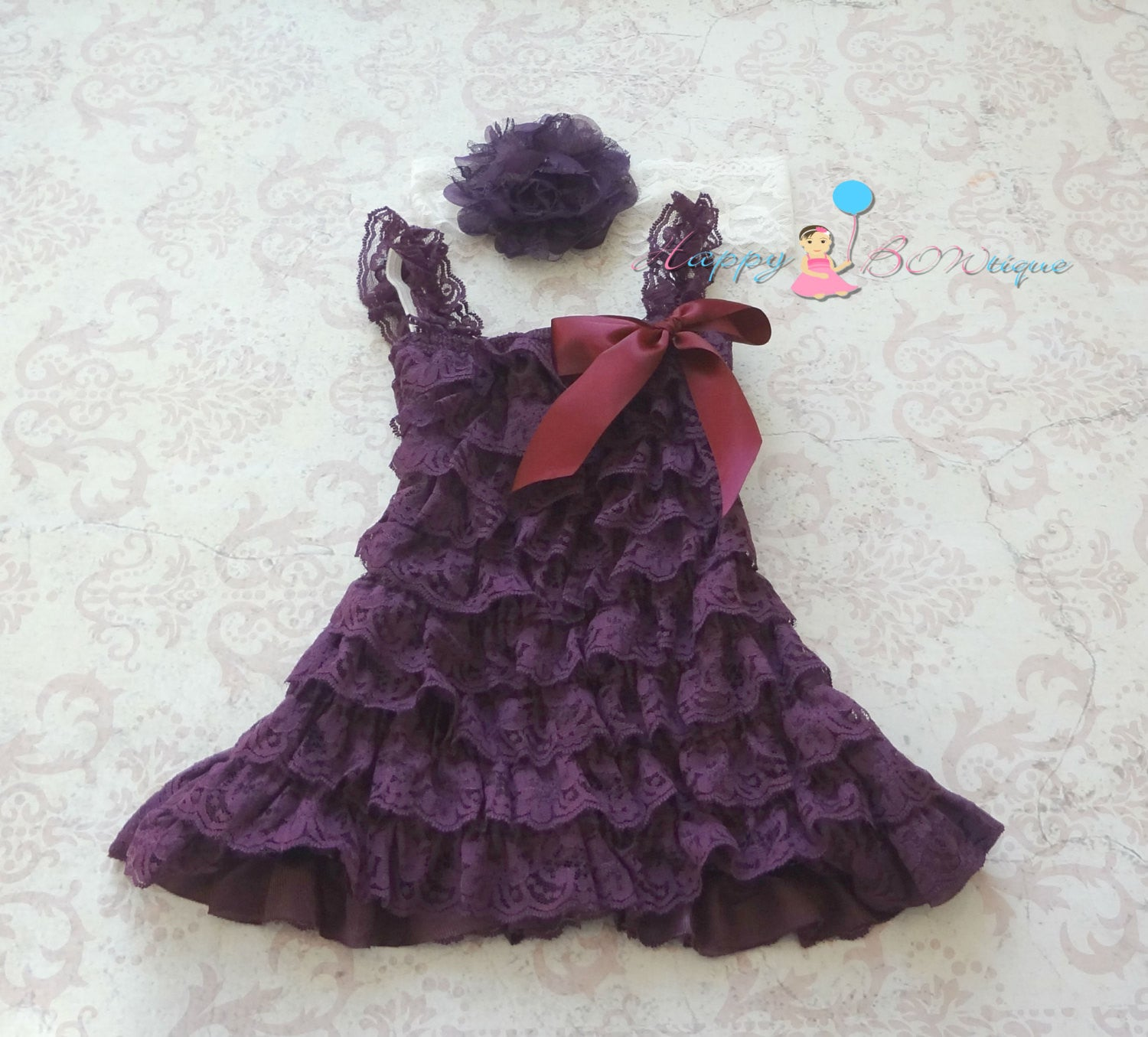 Girl's Petti Lace Dress/ Dark Purple Plum Girl's Lace Dress - Happy BOWtique - children's clothing, Baby Girl clothing