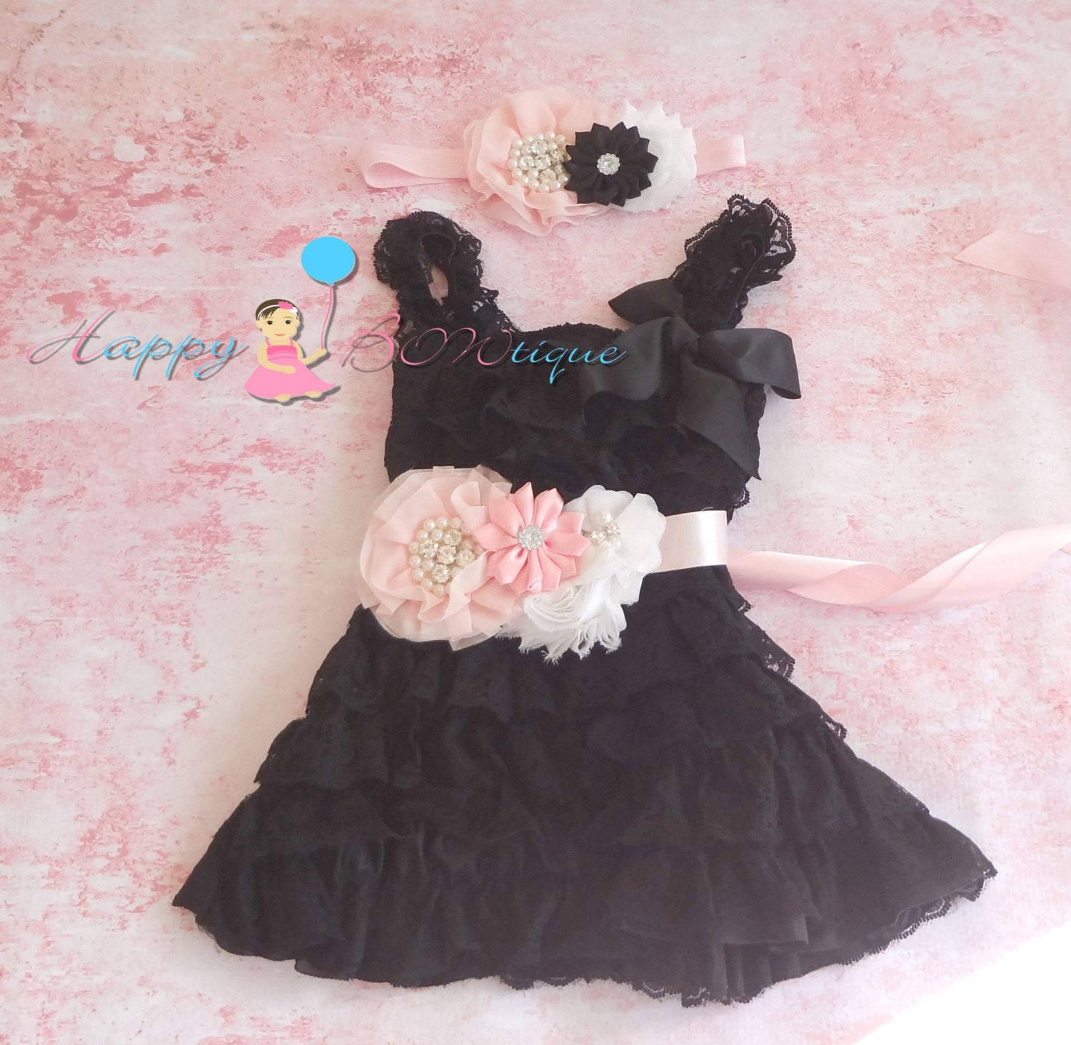Girl Blush Pink and Black Lace Dress / Girl Black Dress Set - Happy BOWtique - children's clothing, Baby Girl clothing