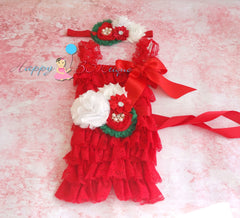 Girl's Red Christmas Romper set - Happy BOWtique - children's clothing, Baby Girl clothing