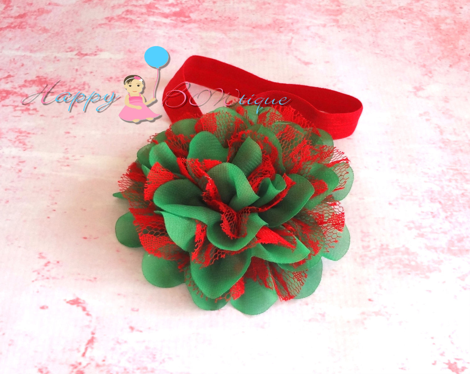 Christmas headband, Large Red and Green Chiffon Lace flower puff headband,baby girls Headband,newborn headband,christmas, baby headband - Happy BOWtique - children's clothing, Baby Girl clothing