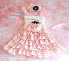 Blush Pink Chevron Lace Dress set - Happy BOWtique - children's clothing, Baby Girl clothing