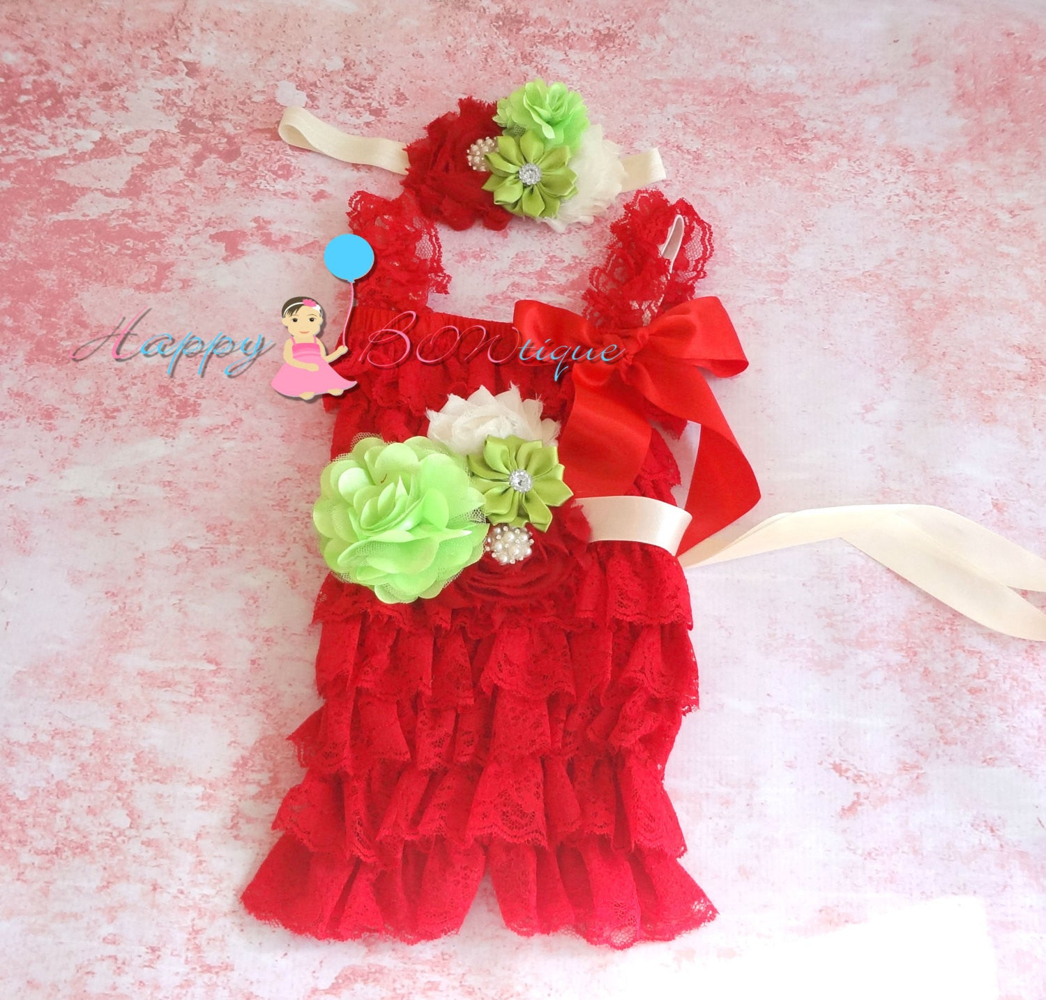 Girl's Red Mint Petti Lace Romper Set - Happy BOWtique - children's clothing, Baby Girl clothing