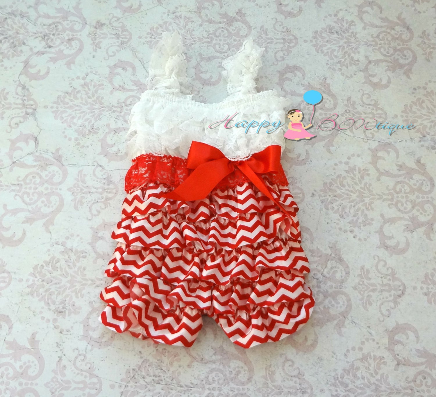Red Chevron Christmas romper set - Happy BOWtique - children's clothing, Baby Girl clothing