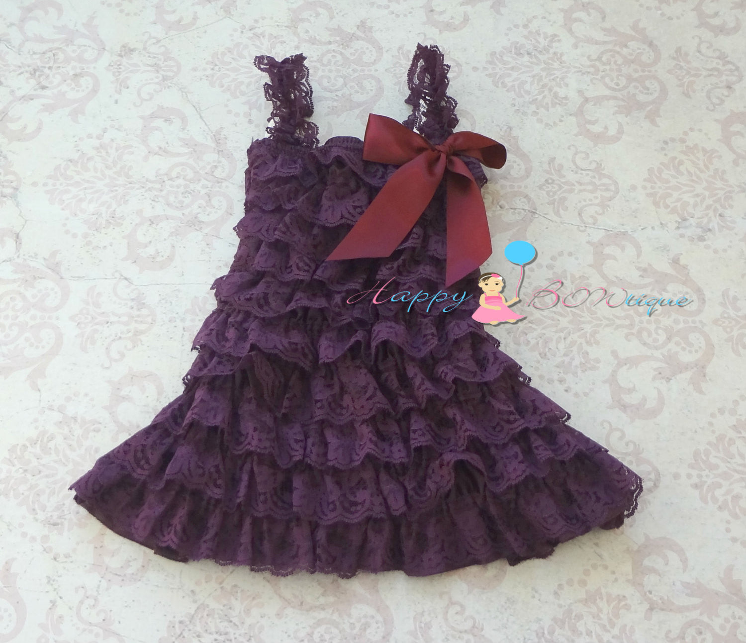 Girl's Purple Dress/ Ivory Dark Purple Plum Lace Dress Set - Happy BOWtique - children's clothing, Baby Girl clothing