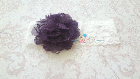 Dark Purple Plum Chiffon Puff wide lace headband - Happy BOWtique - children's clothing, Baby Girl clothing