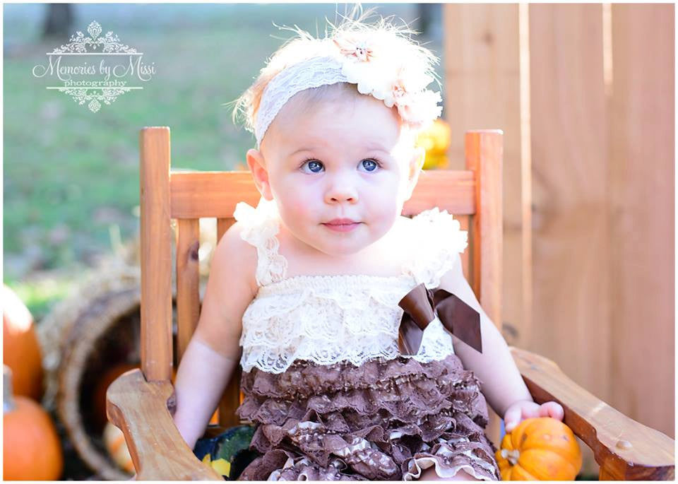 Chocolate Champagne Lace Dress set - Happy BOWtique - children's clothing, Baby Girl clothing