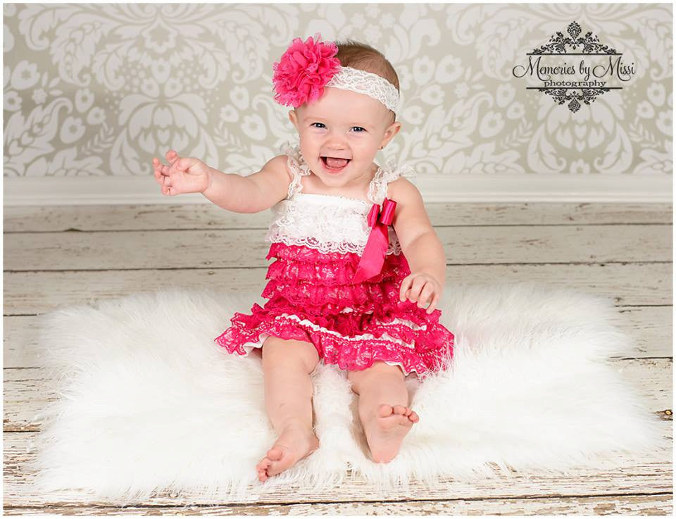 Hot Pink White Lace Dress - Happy BOWtique - children's clothing, Baby Girl clothing