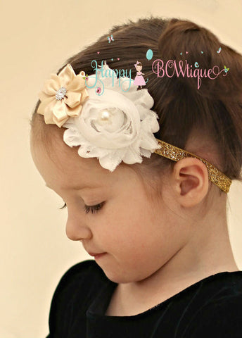 Champagne Gold Headband - Happy BOWtique - children's clothing, Baby Girl clothing