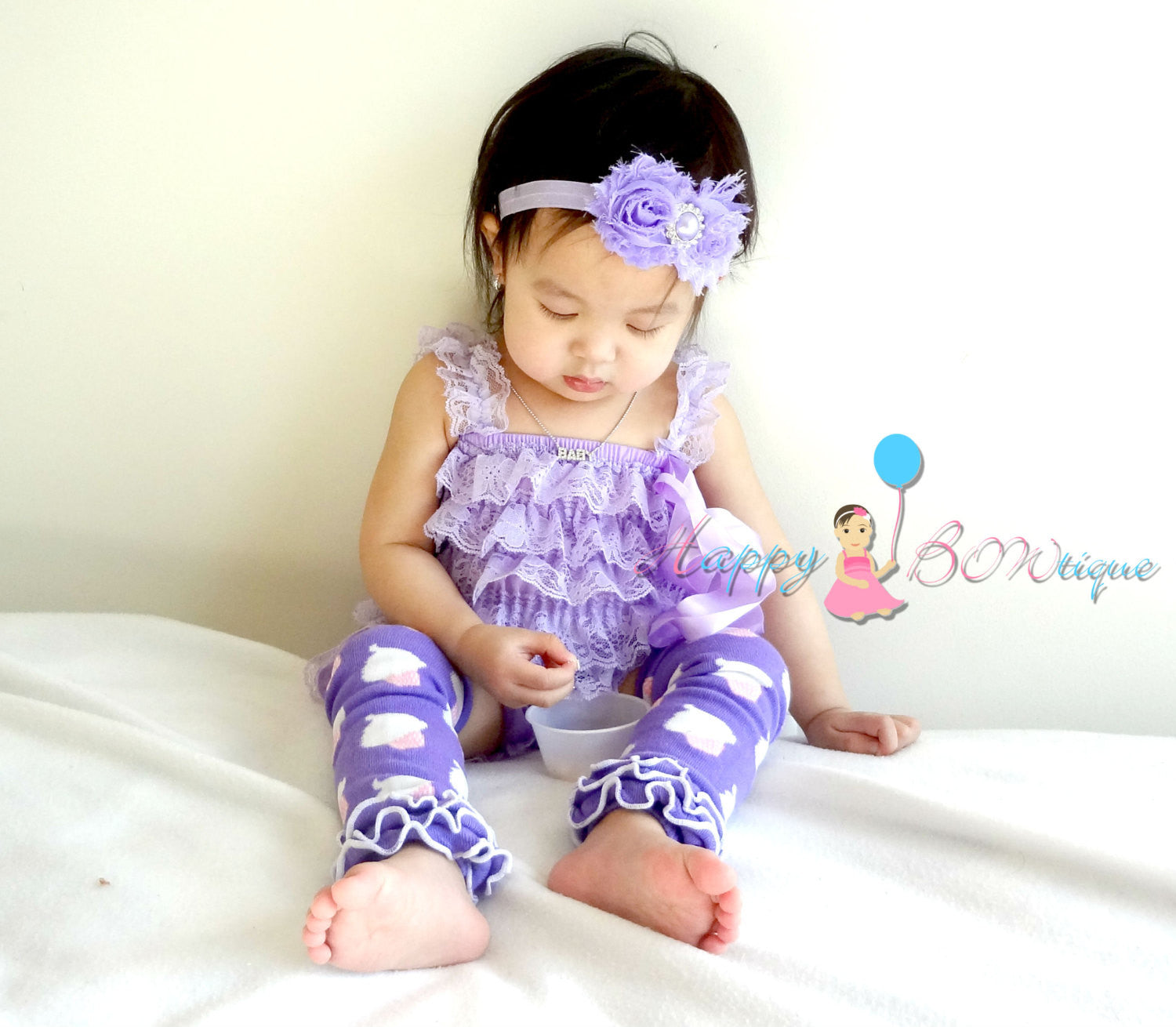 Lavender Easter Romper set with legwarmers - Happy BOWtique - children's clothing, Baby Girl clothing
