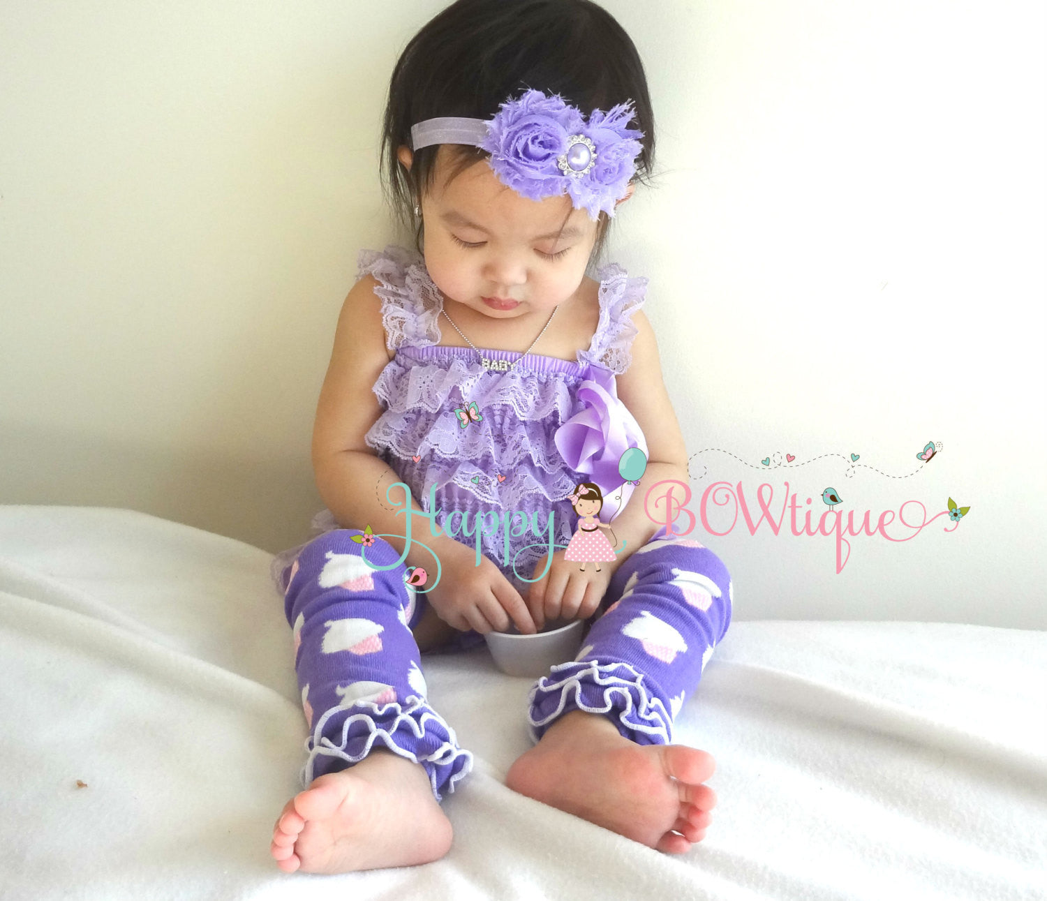 3pcs Easter set, Lavender Easter Romper set, Happy BOWtique, baby rompers