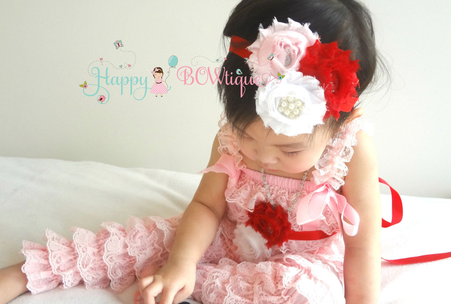 Valentine Love Pink romper set - Happy BOWtique - children's clothing, Baby Girl clothing