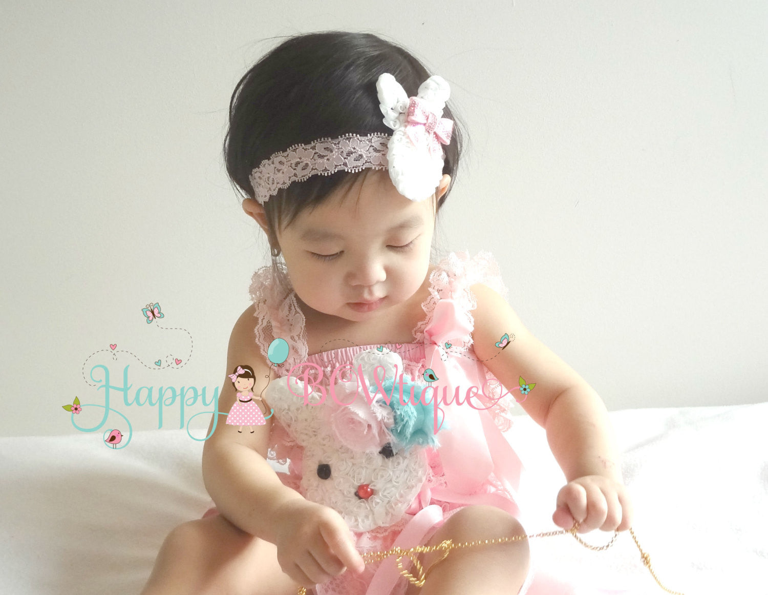 Easter Bunny Pink romper set - Happy BOWtique - children's clothing, Baby Girl clothing