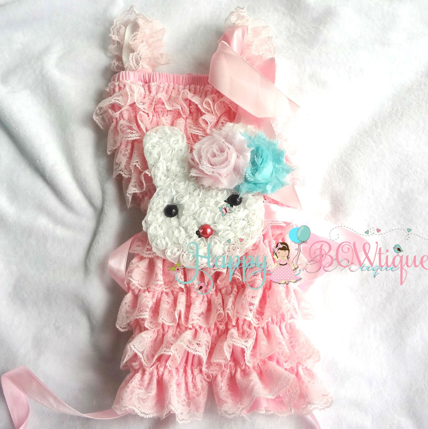 Pink Easter Bunny Petti Lace Romper Set - Happy BOWtique - children's clothing, Baby Girl clothing