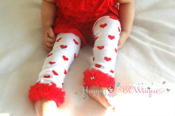 Hot Pink hearts ruffles Leg Warmers - Happy BOWtique - children's clothing, Baby Girl clothing
