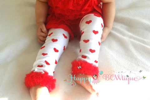 Valentine Hearts Leg warmers - Happy BOWtique - children's clothing, Baby Girl clothing