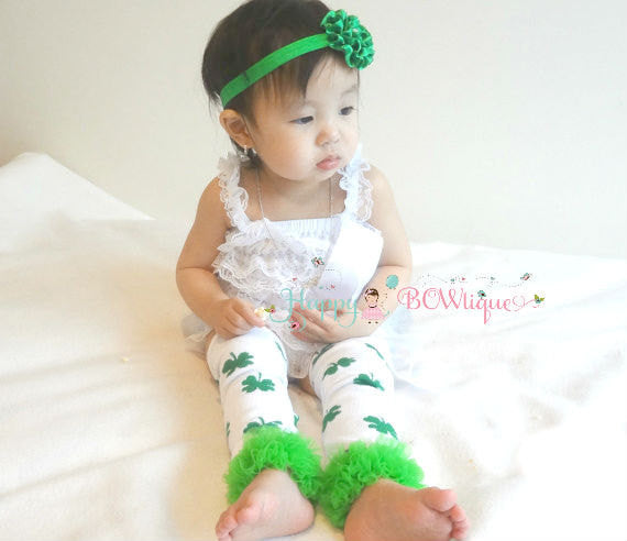 St Patricks day outfits. 3pcs St Pattys Romper set, White Lace Romper set, romper and headband set, baby girls set, Baby outfit - Happy BOWtique - children's clothing, Baby Girl clothing