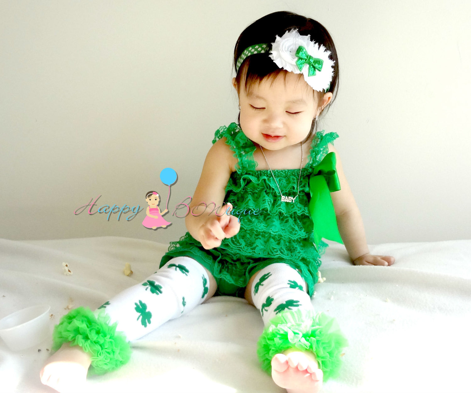 St Patricks leg warmers, St Pattys leg warmers, Green Clover leg warmers, St Patricks - Happy BOWtique - children's clothing, Baby Girl clothing