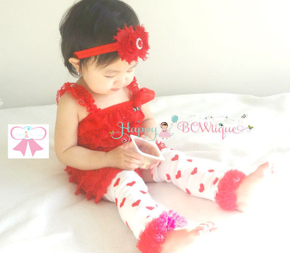 Valentine Hearts Petti Lace Romper Sets - Happy BOWtique - children's clothing, Baby Girl clothing