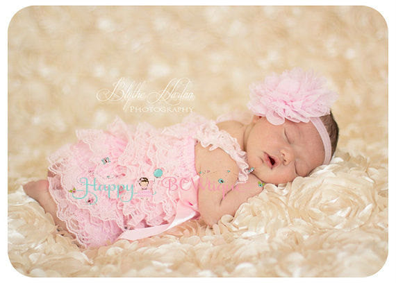 Baby Pink Petti Lace Romper ~ Baby Girl Pink Lace Romper, Happy Bowtique