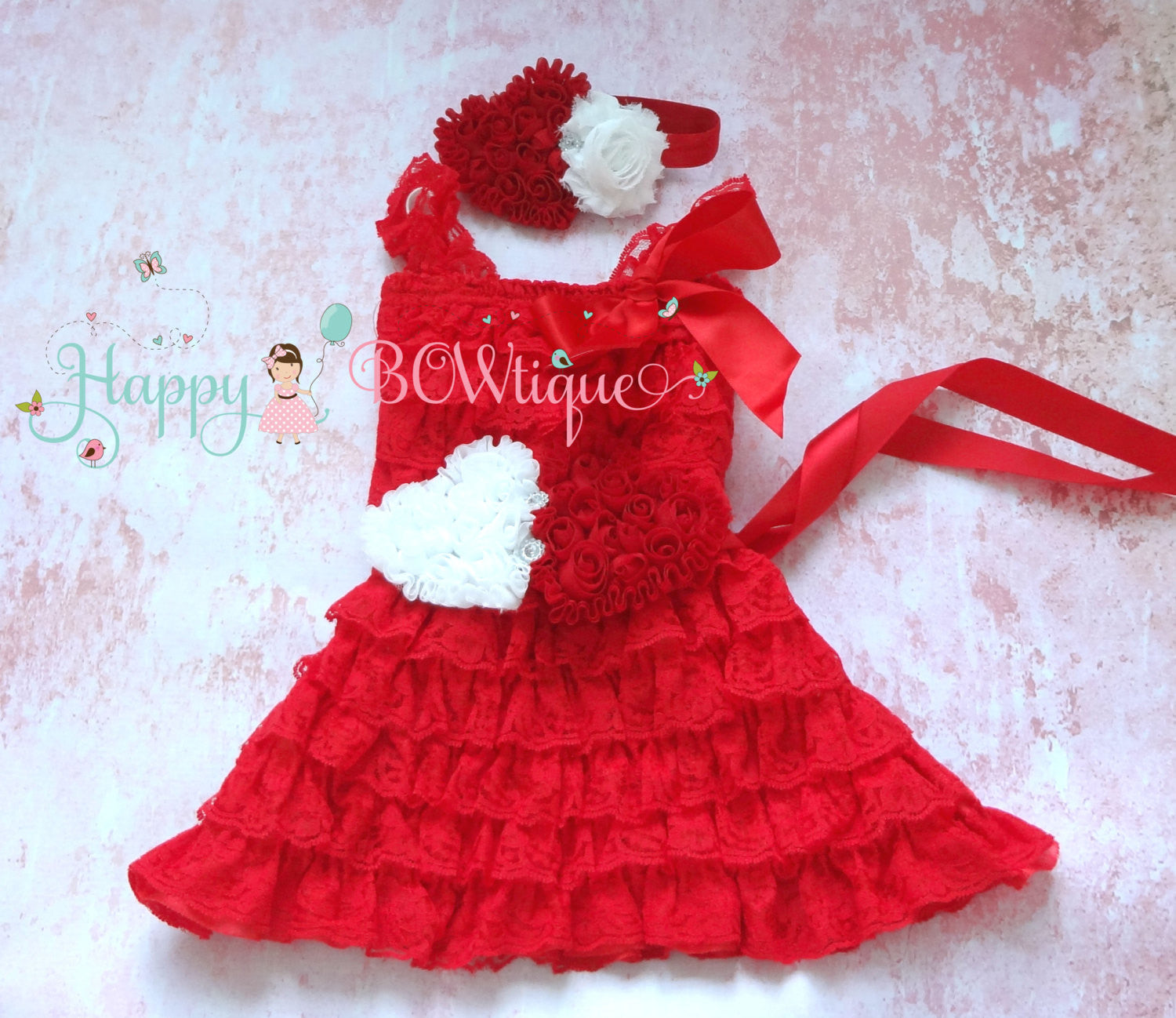 Red Heart Valentine Lace Dress - Happy BOWtique - children's clothing, Baby Girl clothing