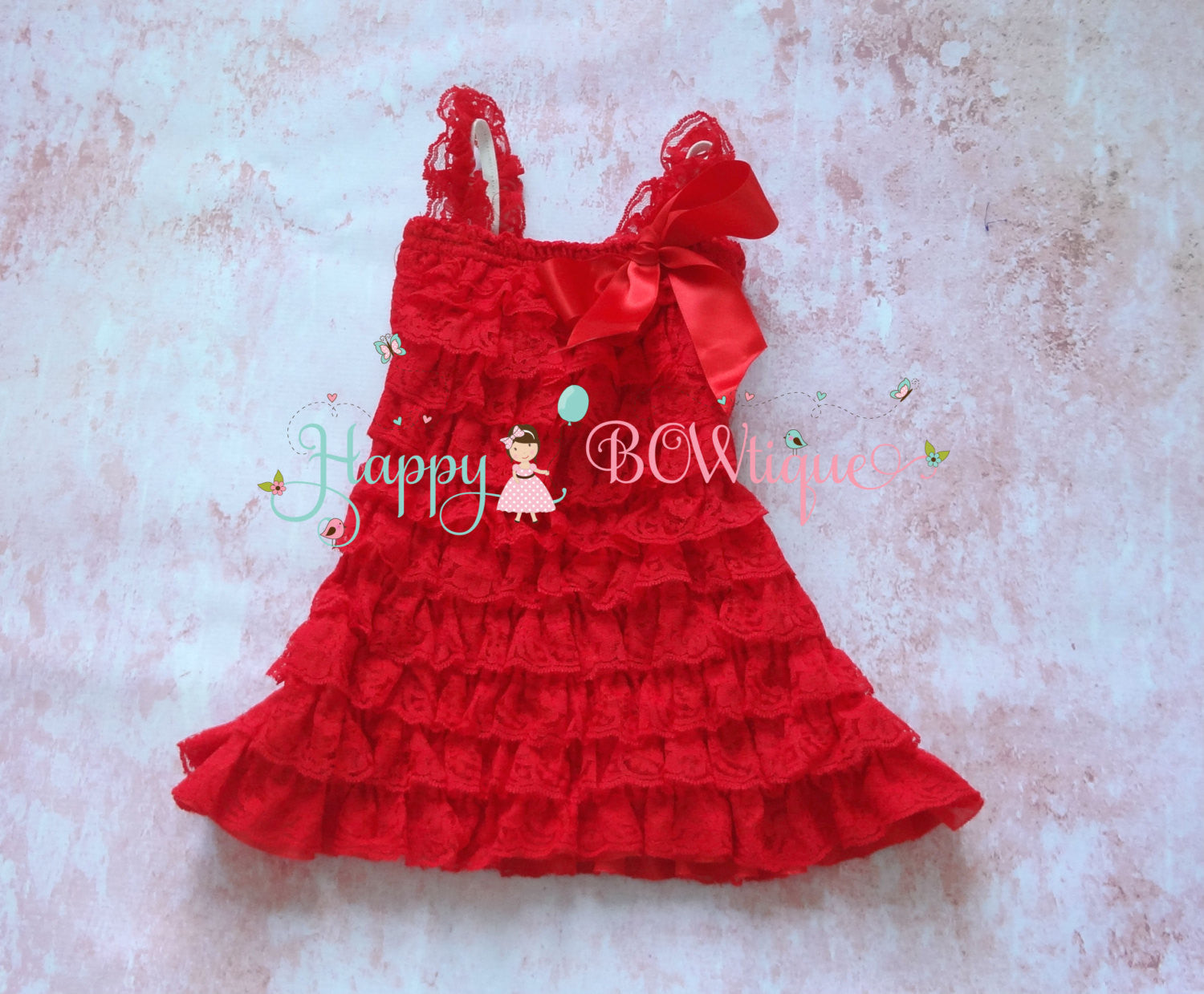 Girl Red Heart Valentine Lace Dress / Girl Valentine Dress - Happy BOWtique - children's clothing, Baby Girl clothing