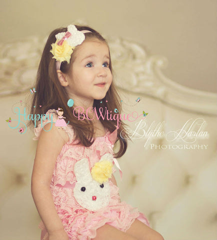Easter Bunny headband / Pink White Bunny Girls headband