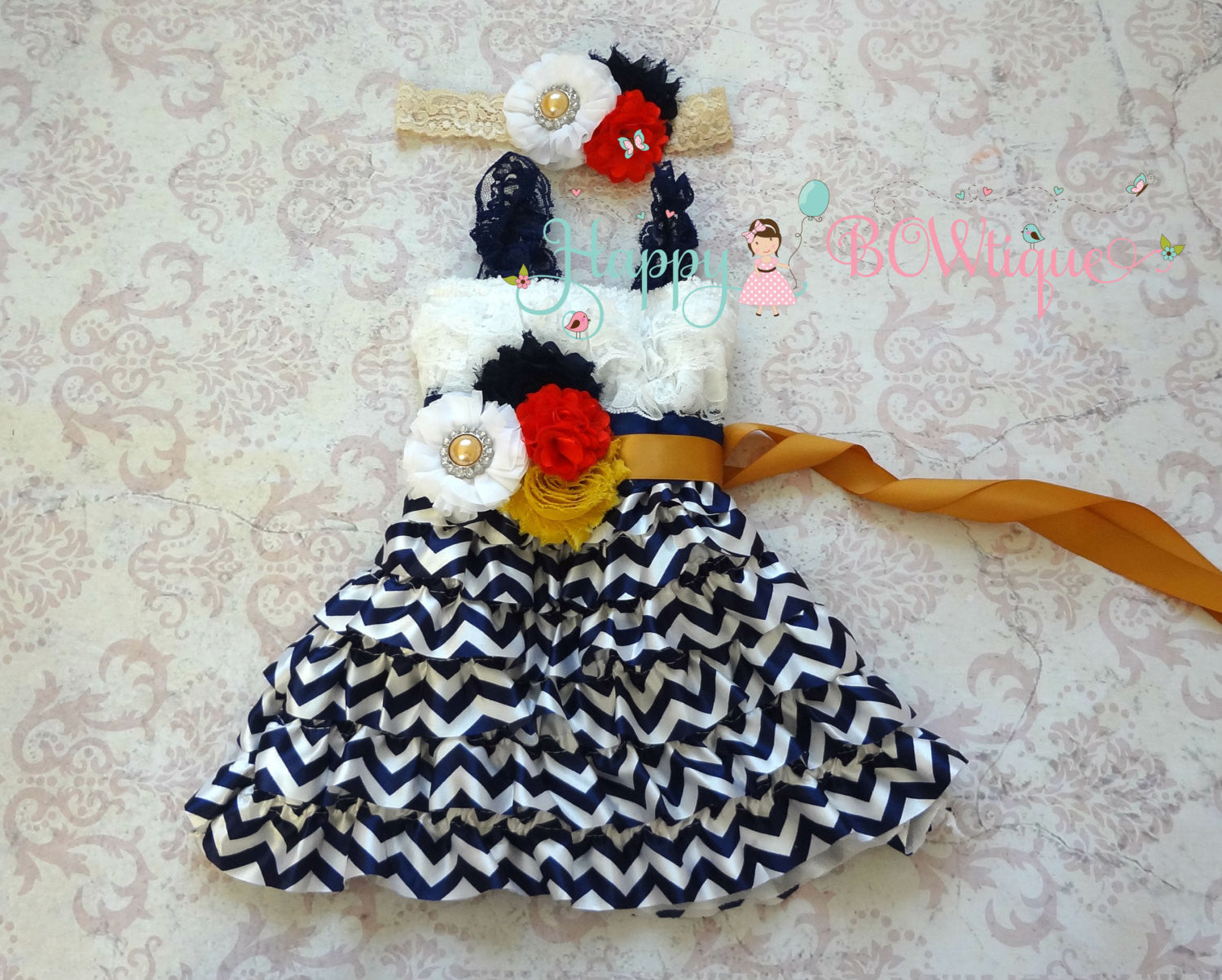 Navy Chevron Petti lace Dress - Happy BOWtique - children's clothing, Baby Girl clothing