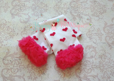 Red chevron ruffles Legwarmers