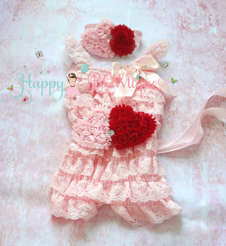 Pink and Red Hearts Petti Lace Romper set - Happy BOWtique - children's clothing, Baby Girl clothing