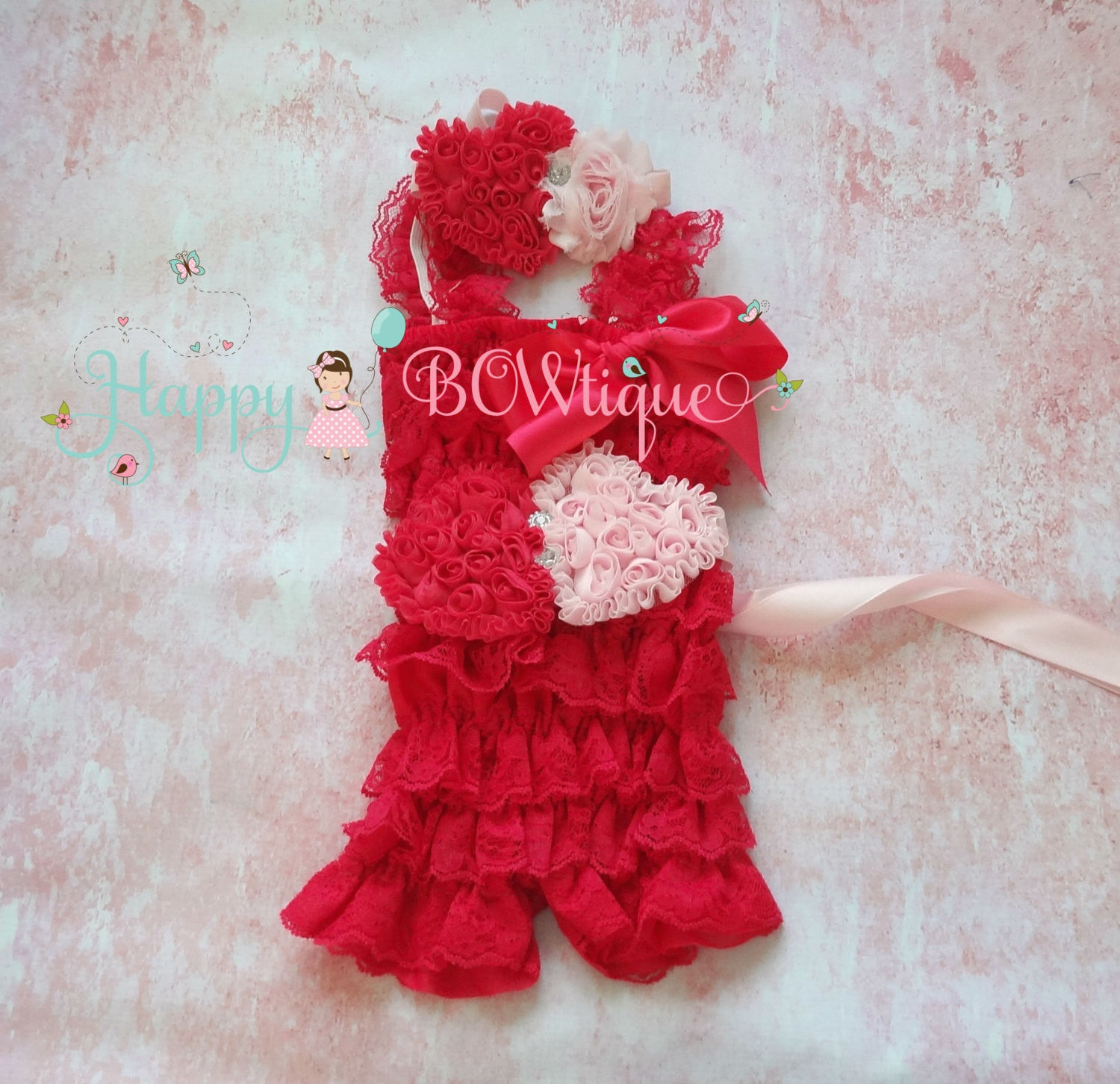 Hot Pink Heart Petti Lace Romper Set - Happy BOWtique - children's clothing, Baby Girl clothing
