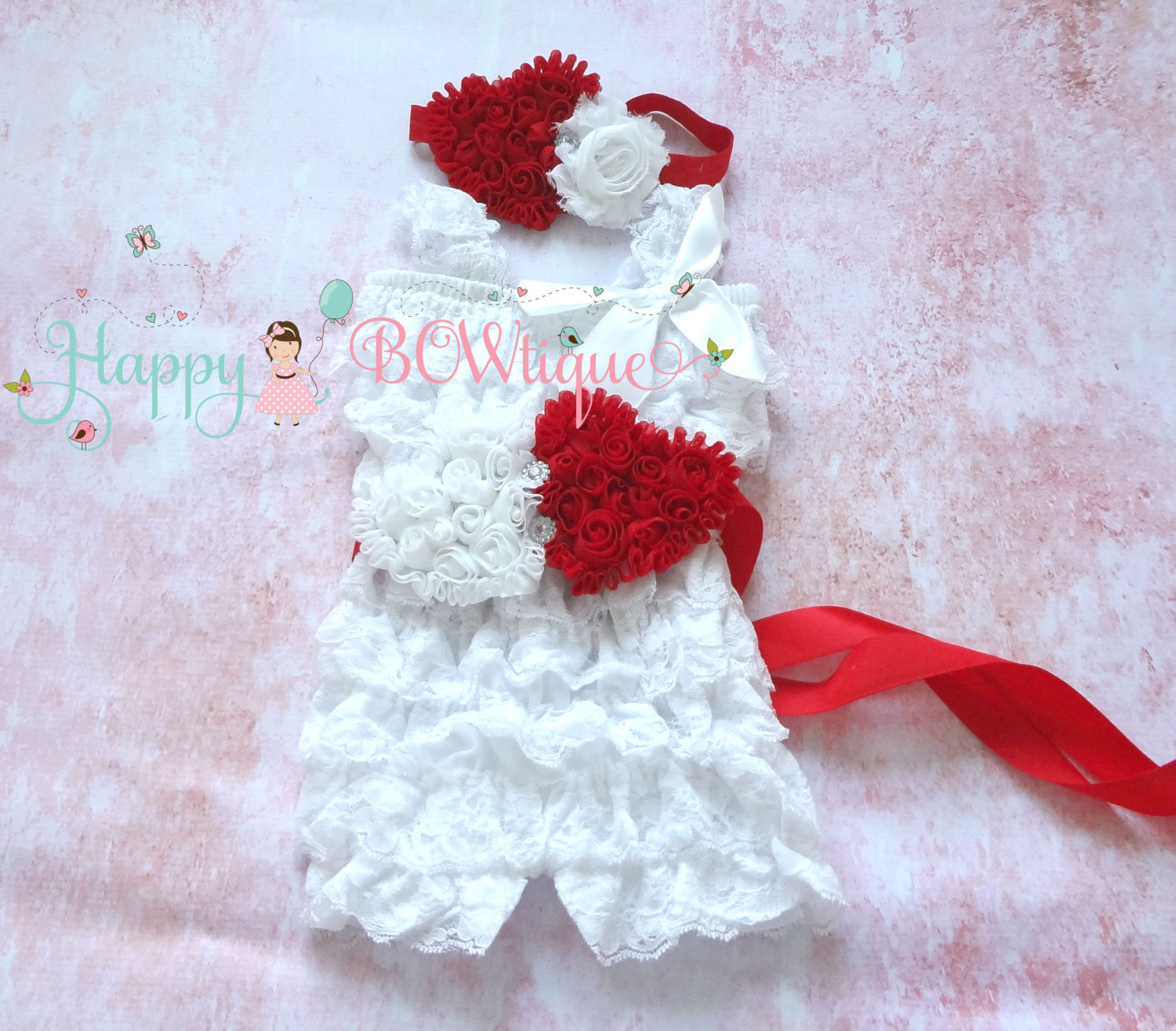 White and Red hearts Romper set - Happy BOWtique - children's clothing, Baby Girl clothing