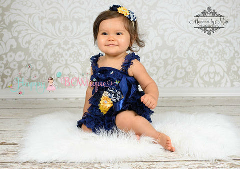Girl's Navy Dress/ Girl's Nautical Gold Navy Lace Dress - Happy BOWtique - children's clothing, Baby Girl clothing