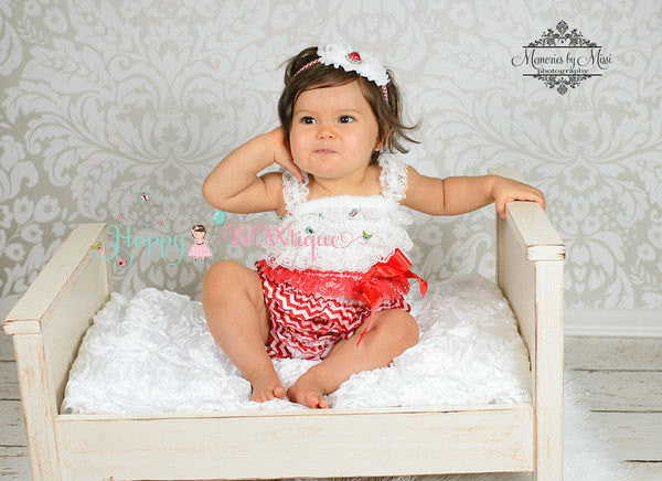 Red Chevron Petti Romper - Happy BOWtique - children's clothing, Baby Girl clothing