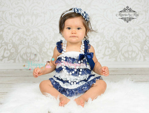 Navy Blue Stripes Vintage Lace Dress  Girl Navy Blue Stripes Lace Dress ~ Baby Girl Navy Lace Dress