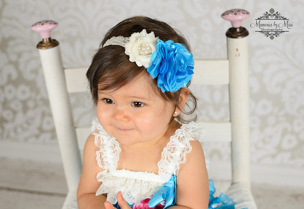 Turquoise Ivory Lace Dress - Happy BOWtique - children's clothing, Baby Girl clothing