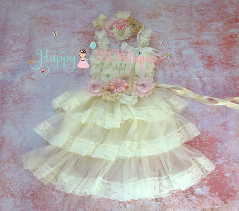 Girl Ivory Pink Dress / Embellished Ivory Pink Champagne Lace dress set - Happy BOWtique - children's clothing, Baby Girl clothing