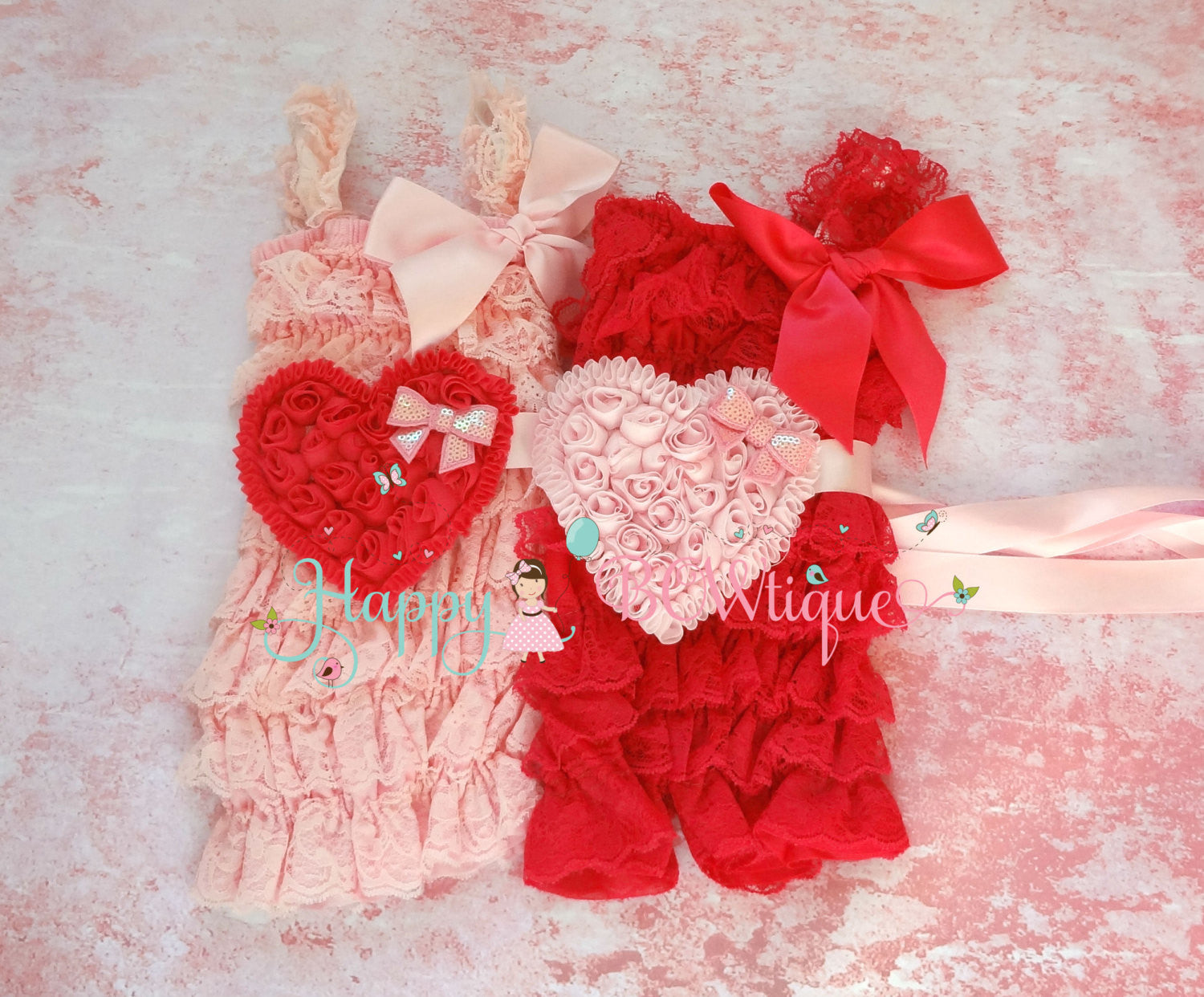 U Pick- Large Shabby Heart Flower sash - Happy BOWtique - children's clothing, Baby Girl clothing