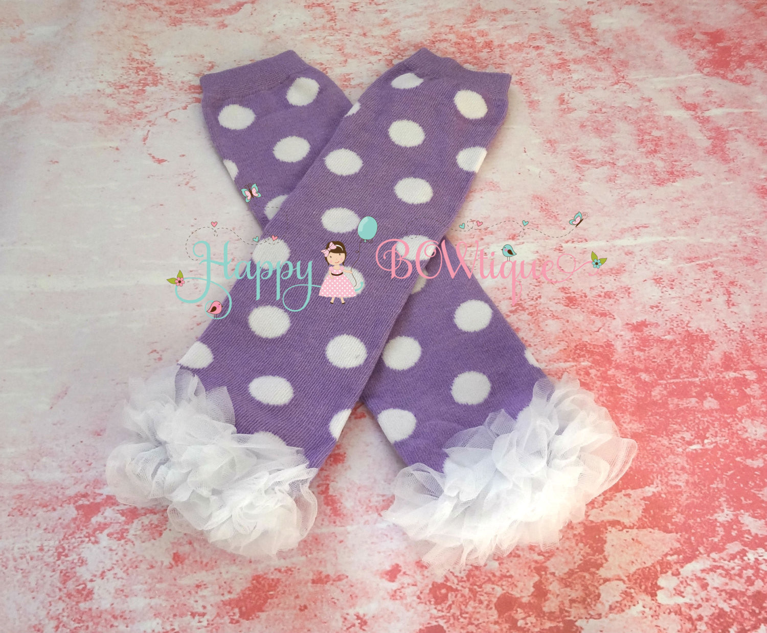 Lavender Dots Ruffle Chiffon leg warmers set - Happy BOWtique - children's clothing, Baby Girl clothing